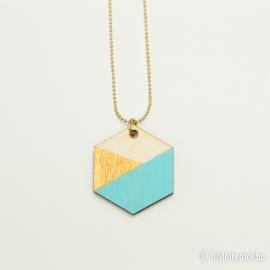 Hanger zeshoek lichtblauw&goud