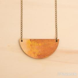 Halsketting halve cirkels koper bruin en geel