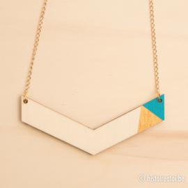 Halsketting vleugel blauw en goud