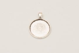 Oudzilverkleurige ketting - Rond 25mm