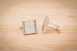 Manchetknopen - Vierkant zilverkleurig