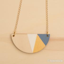 Halve cirkel zacht blauw en goud