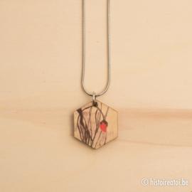 Hanger zeshoek houtprint klaproos
