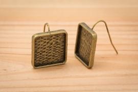 Bronskleurige oorbellen - Vierkant