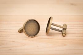 Manchetknopen - Rond bronskleurig