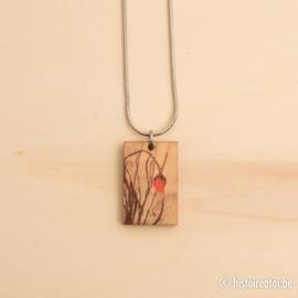Halsketting rechthoek houtprint klaproos