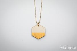 Hanger zeshoek goud&hout