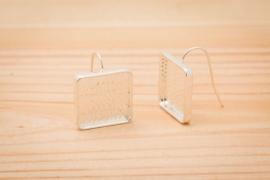 Zilverkleurige oorbellen - Vierkant