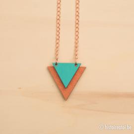 Halsketting driehoeken koper en turquoise