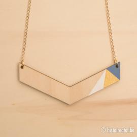Halsketting vleugel zacht blauw en goud
