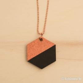 Halsketting zeshoek zwart en koper