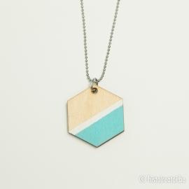 Hanger zeshoek lichtblauw&wit