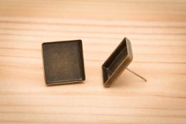 Bronskleurige oorstekers - Vierkant