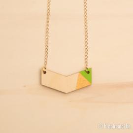 Halsketting vleugel groen en goud