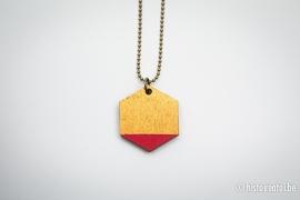 Hanger zeshoek rood&goud