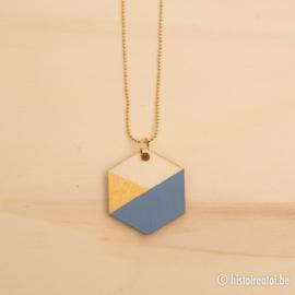 Halsketting zeshoek zacht blauw en goud