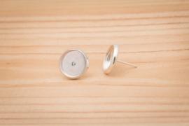 Zilverkleurige oorstekers - Rond 8mm