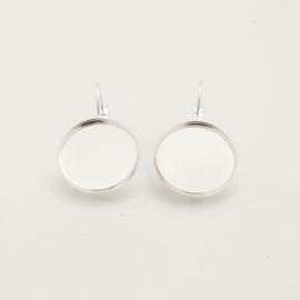 Zilverkleurige oorhangers - 14mm