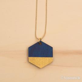Hanger zeshoek donkerblauw en goud