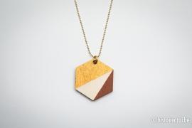 Hanger zeshoek bruin&goud