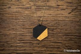Hanger zeshoek zwart&goud