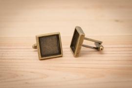 Manchetknopen - Vierkant bronskleurig