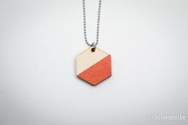 Hanger zeshoek glitter-rood&hout