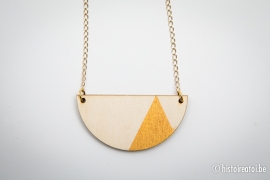 Hanger halve cirkel goud&hout