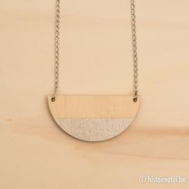 Halsketting halve cirkels zilver en hout