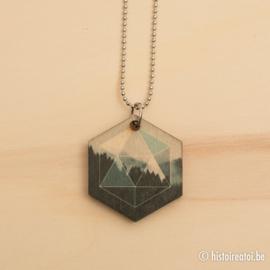"Halsketting hexagon met print ""Misty mountains"""