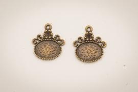 Bronzen oorhangers - Retro liggend ovaal
