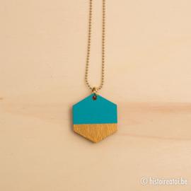 Hanger zeshoek blauw en goud