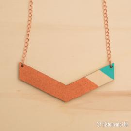 Halsketting vleugel koper en turquoise