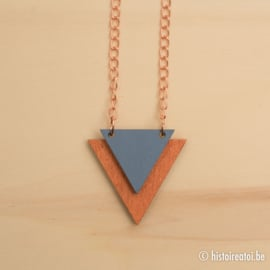 Halsketting driehoeken blauw & koper