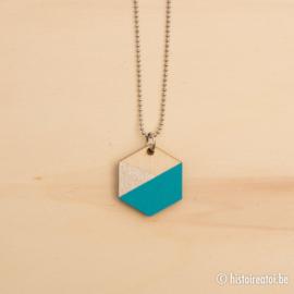 Hanger zeshoek blauw en zilver