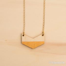 Halsketting vleugel goud en hout klein