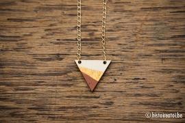 Hanger driehoek bruin&goud