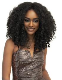 Janet Collection Natural Me Yaki Textured Deep Part Lace Front Wig Zara ——— #1B