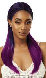 Outre Color Bomb Pre-Braided + Sparkle Highlights Swiss Lace Front Wig Mystique