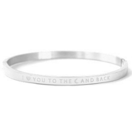 bangle RVS- love you to the moon zilver