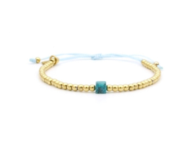 Armband cube, turquoise (rvs zilver of goud)