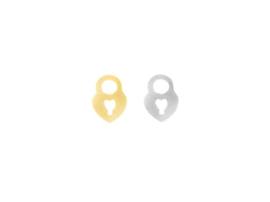 Oorbellen hanger hart slotje, rvs zilver of goud plated