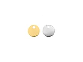 Oorbellen hanger, rond,rvs zilver of goud plated