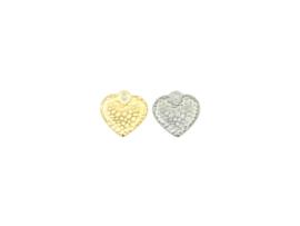 Oorbellen hanger hart bewerkt, rvs zilver of goud plated