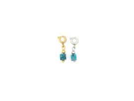 Hanger square turquoise, rvs zilver of goud