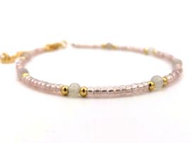 Enkelbandje Indah- opaal roze, zilver of goud