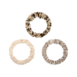 Mini scrunchie beige-set van 3