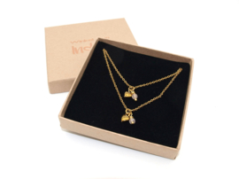 Ketting set love rozenkwarts in zilver of goud