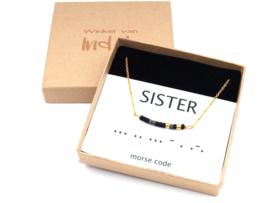 Ketting morse code zus, sister, soeur