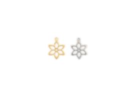Oorbellen hanger bloem, rvs zilver of goud plated